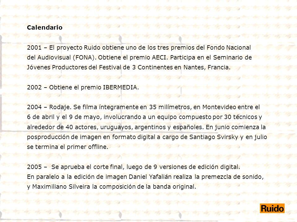 Calendario 2001 – El proyecto Ruido obtiene uno de los tres premios del Fondo Nacional.
