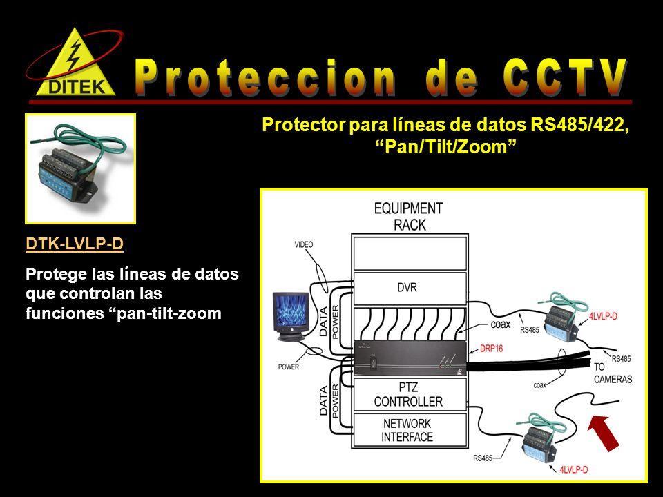 Protector para líneas de datos RS485/422, Pan/Tilt/Zoom
