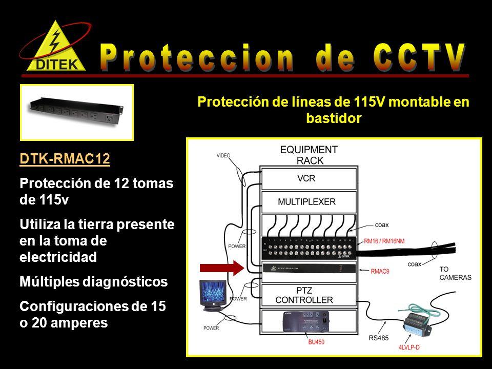 Protección de líneas de 115V montable en bastidor