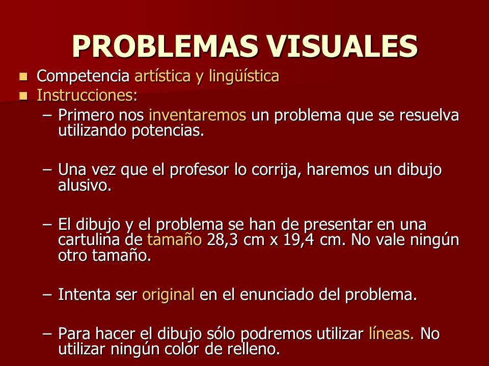 PROBLEMAS VISUALES Competencia artística y lingüística Instrucciones: