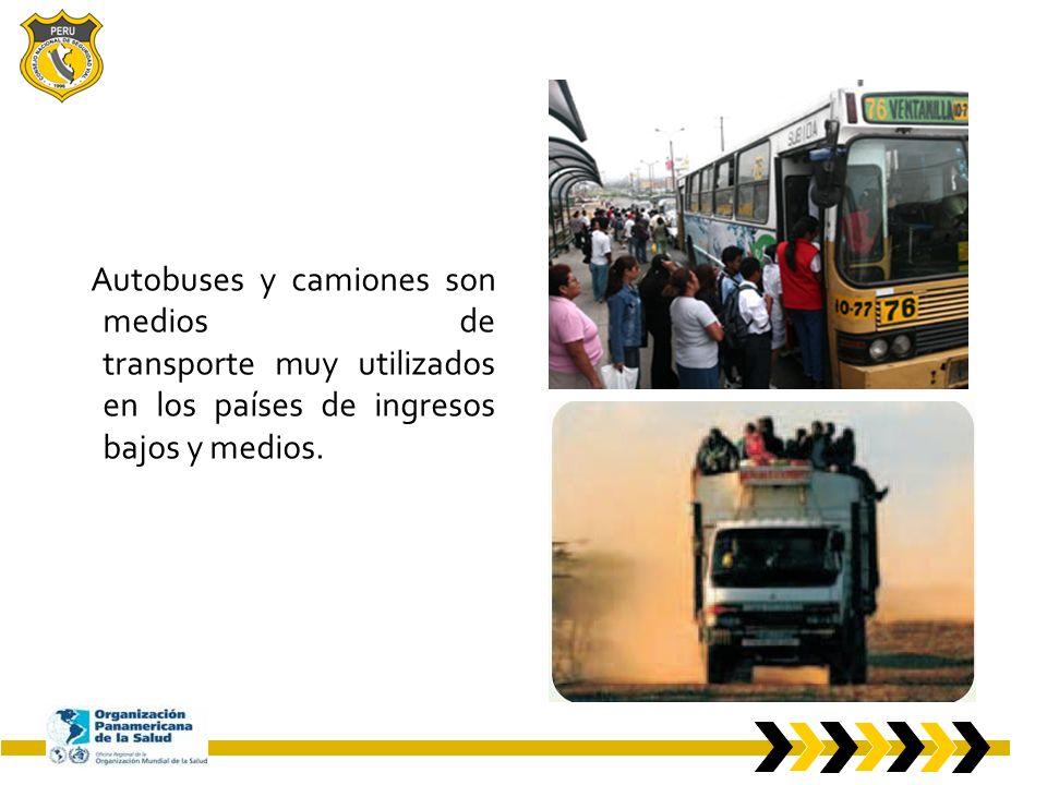 Autobuses y camiones son medios de transporte muy utilizados en los países de ingresos bajos y medios.