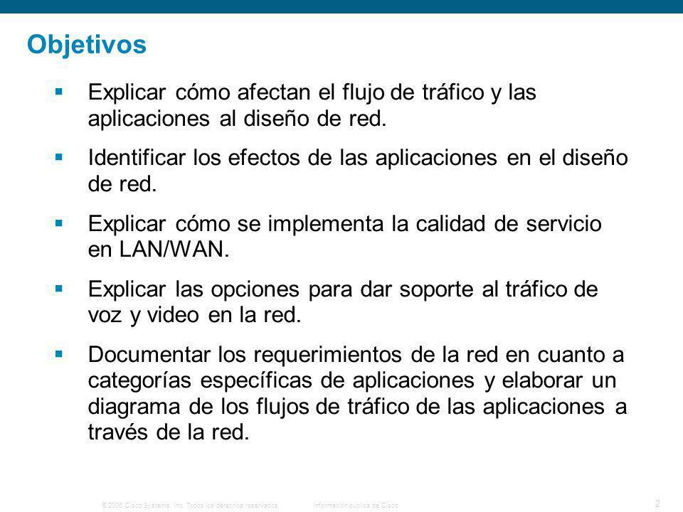 Objetivos Explicar cómo afectan el flujo de tráfico y las aplicaciones al diseño de red.