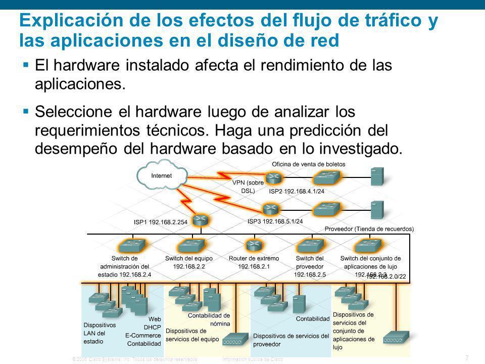 Explicación de los efectos del flujo de tráfico y las aplicaciones en el diseño de red