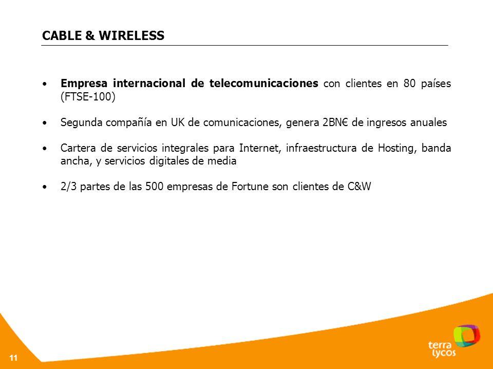 CABLE & WIRELESS Empresa internacional de telecomunicaciones con clientes en 80 países (FTSE-100)
