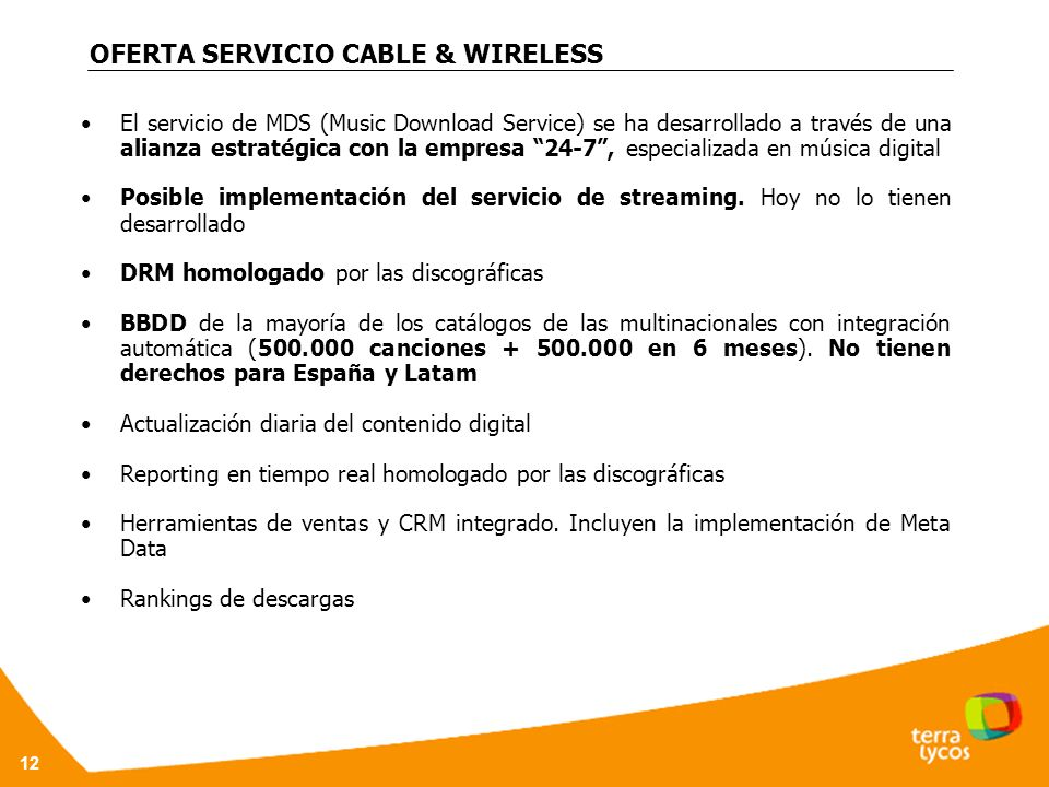 OFERTA SERVICIO CABLE & WIRELESS