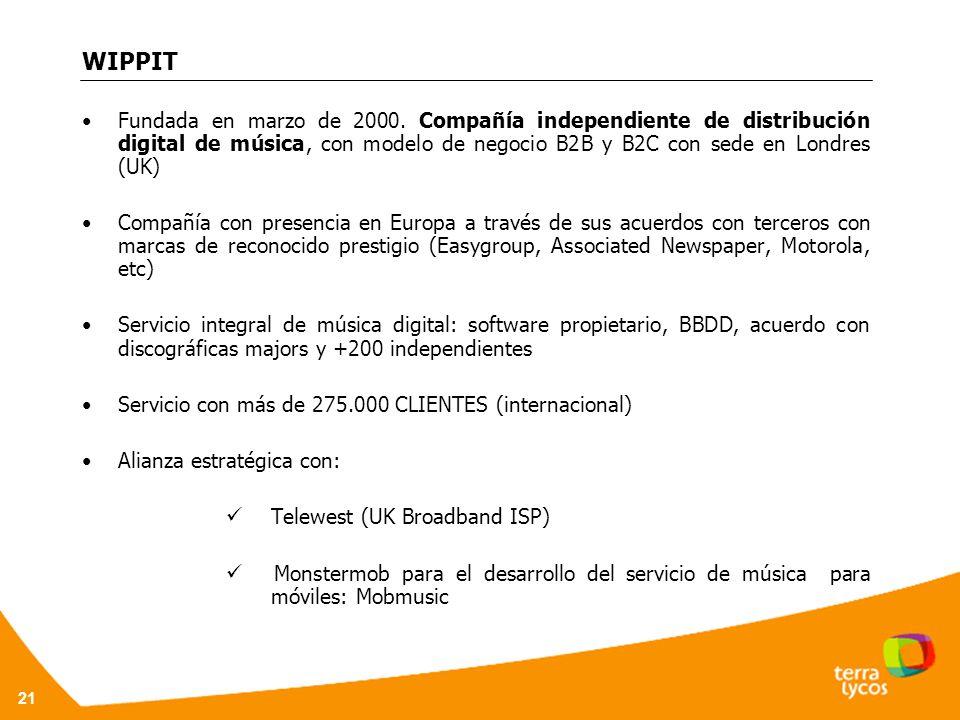 WIPPIT Fundada en marzo de 2000. Compañía independiente de distribución digital de música, con modelo de negocio B2B y B2C con sede en Londres (UK)