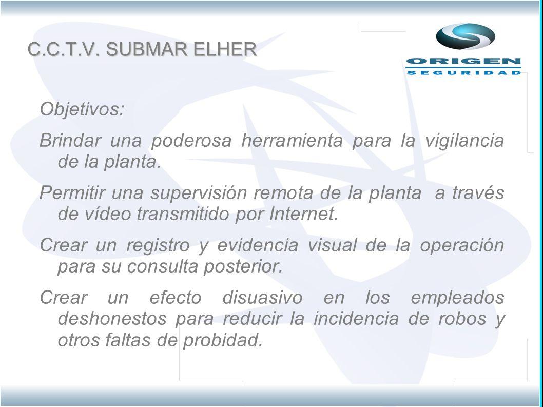 C.C.T.V. SUBMAR ELHER Objetivos: Brindar una poderosa herramienta para la vigilancia de la planta.