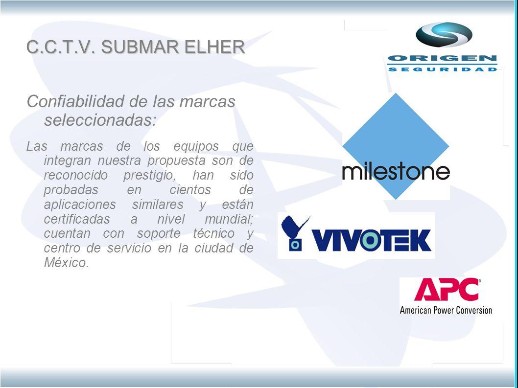 C.C.T.V. SUBMAR ELHER Confiabilidad de las marcas seleccionadas: