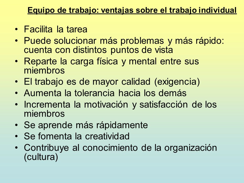 Equipo de trabajo: ventajas sobre el trabajo individual