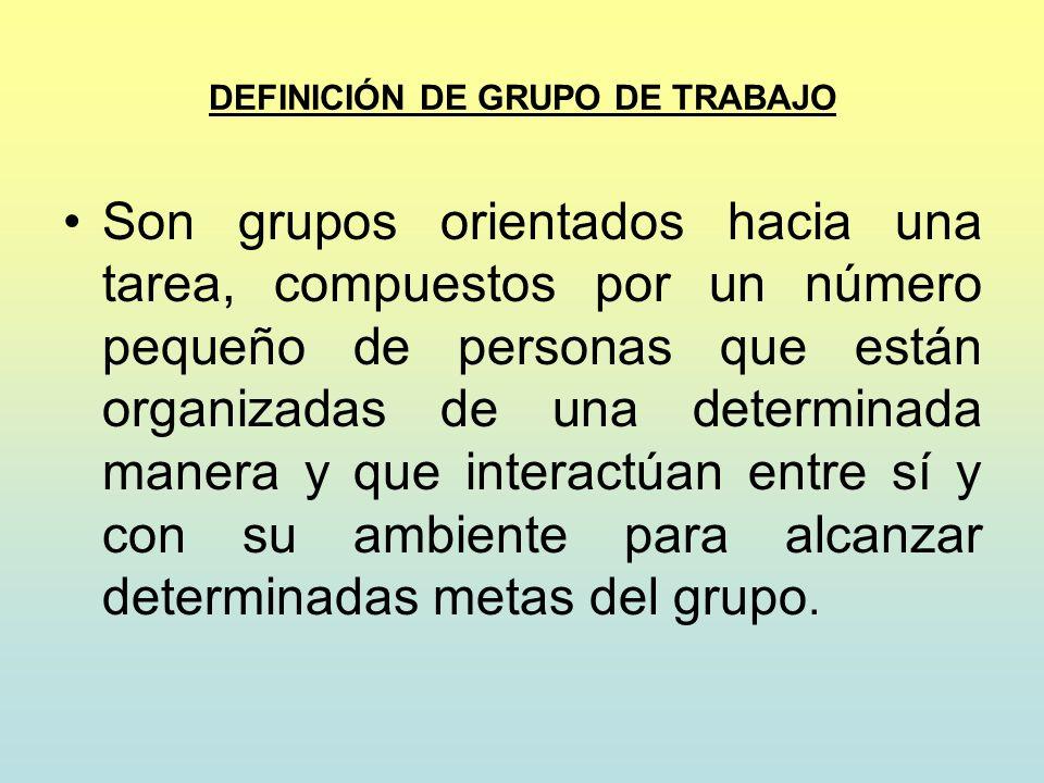 DEFINICIÓN DE GRUPO DE TRABAJO