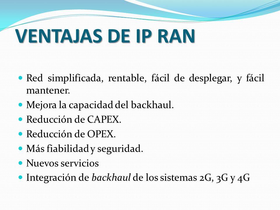 VENTAJAS DE IP RAN Red simplificada, rentable, fácil de desplegar, y fácil mantener. Mejora la capacidad del backhaul.