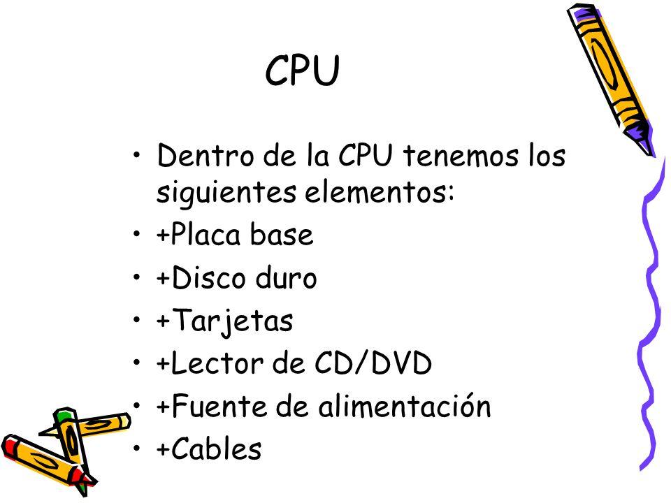 CPU Dentro de la CPU tenemos los siguientes elementos: +Placa base
