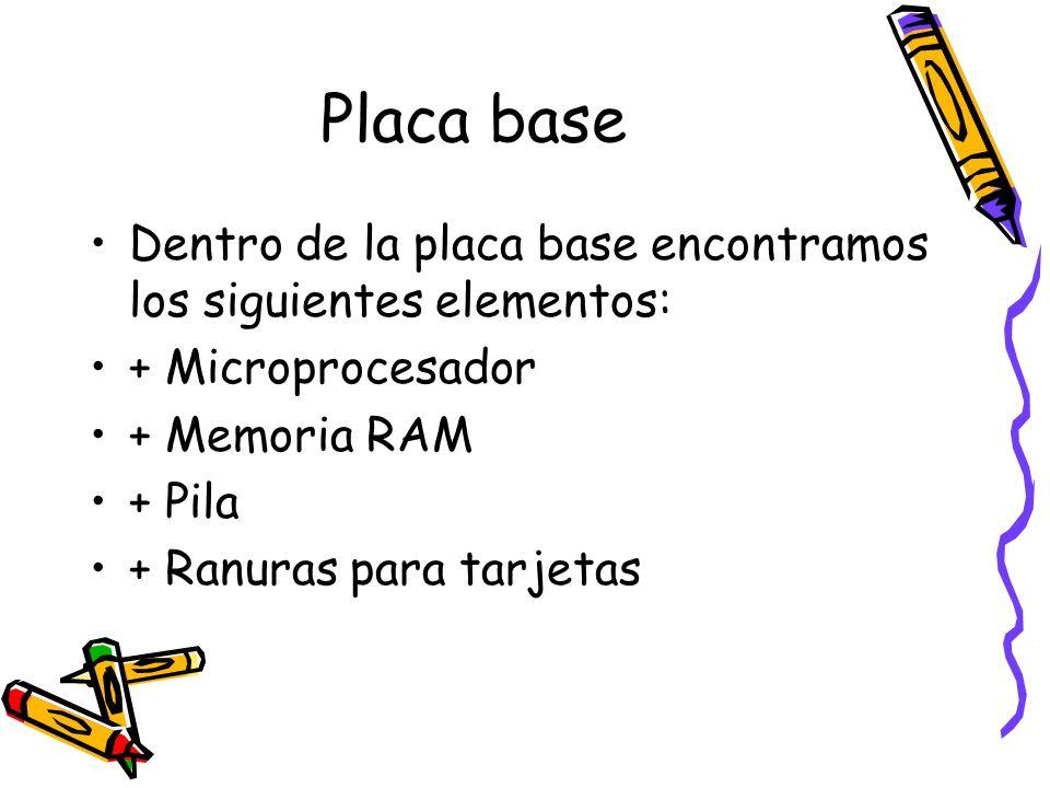 Placa base Dentro de la placa base encontramos los siguientes elementos: + Microprocesador. + Memoria RAM.