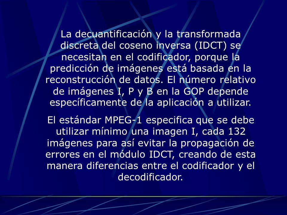 La decuantificación y la transformada discreta del coseno inversa (IDCT) se necesitan en el codificador, porque la predicción de imágenes está basada en la reconstrucción de datos. El número relativo de imágenes I, P y B en la GOP depende específicamente de la aplicación a utilizar.
