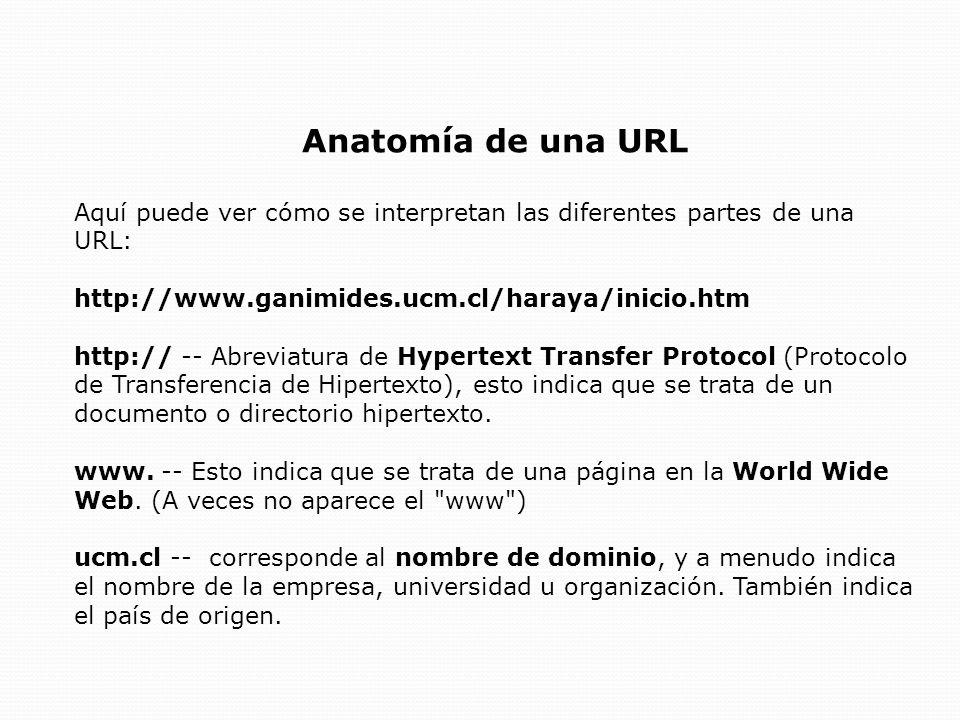 Anatomía de una URL Aquí puede ver cómo se interpretan las diferentes partes de una URL: http://www.ganimides.ucm.cl/haraya/inicio.htm.