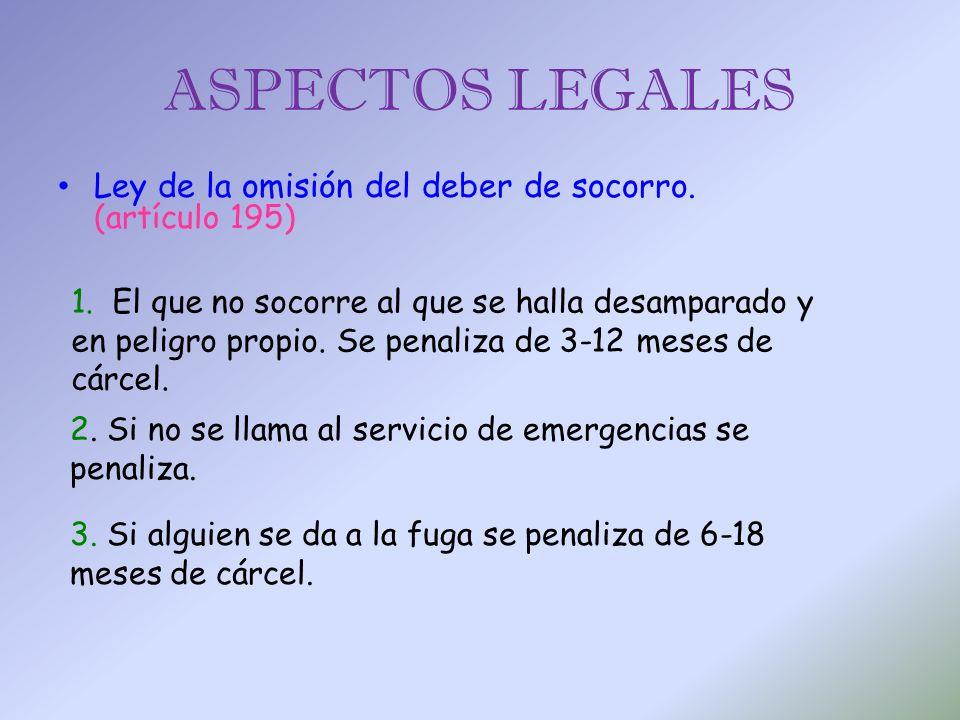 ASPECTOS LEGALES Ley de la omisión del deber de socorro. (artículo 195)