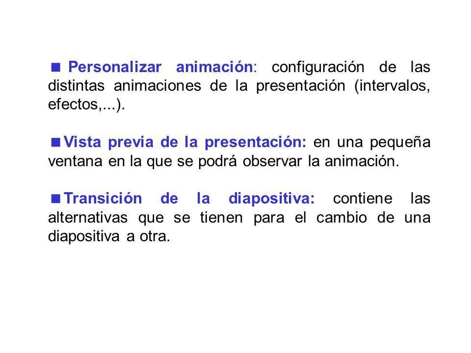 Personalizar animación: configuración de las distintas animaciones de la presentación (intervalos, efectos,...).