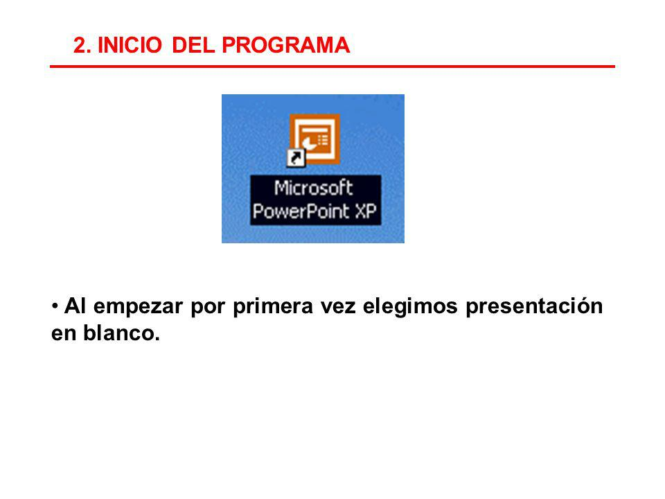 2. INICIO DEL PROGRAMA Al empezar por primera vez elegimos presentación en blanco.