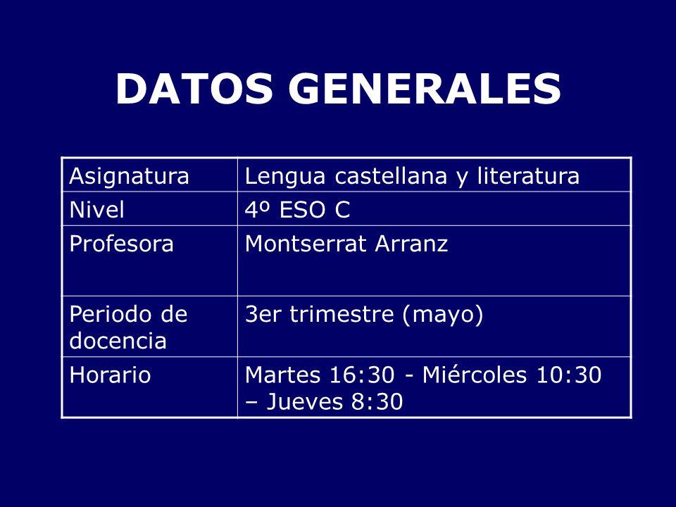 DATOS GENERALES Asignatura Lengua castellana y literatura Nivel
