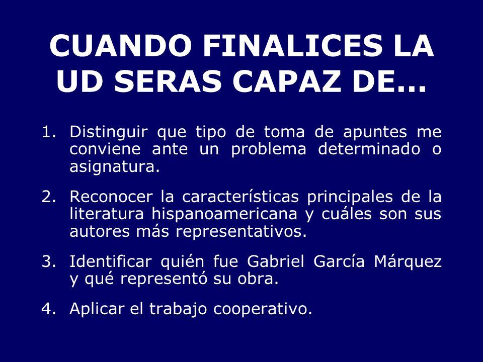 CUANDO FINALICES LA UD SERAS CAPAZ DE...