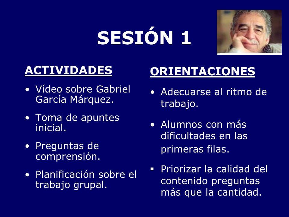 SESIÓN 1 ACTIVIDADES ORIENTACIONES Vídeo sobre Gabriel García Márquez.
