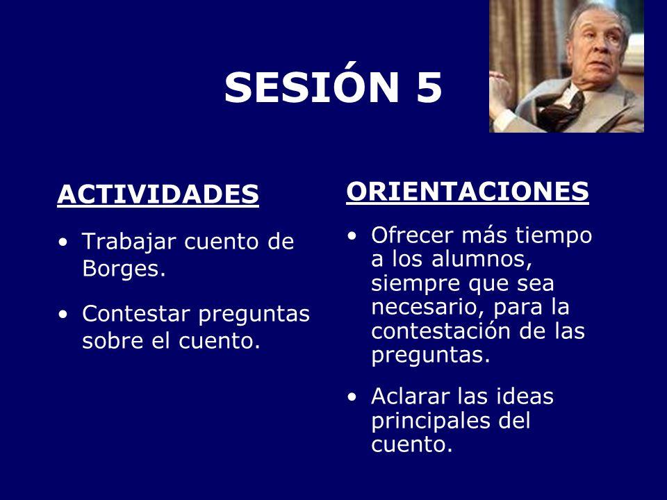 SESIÓN 5 ACTIVIDADES ORIENTACIONES