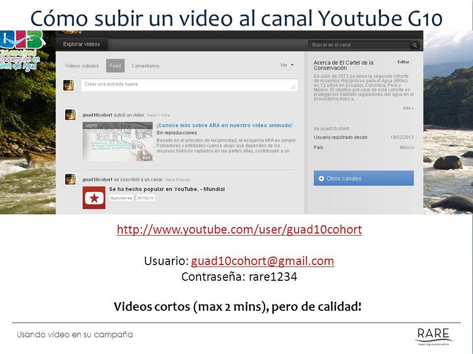 Cómo subir un video al canal Youtube G10