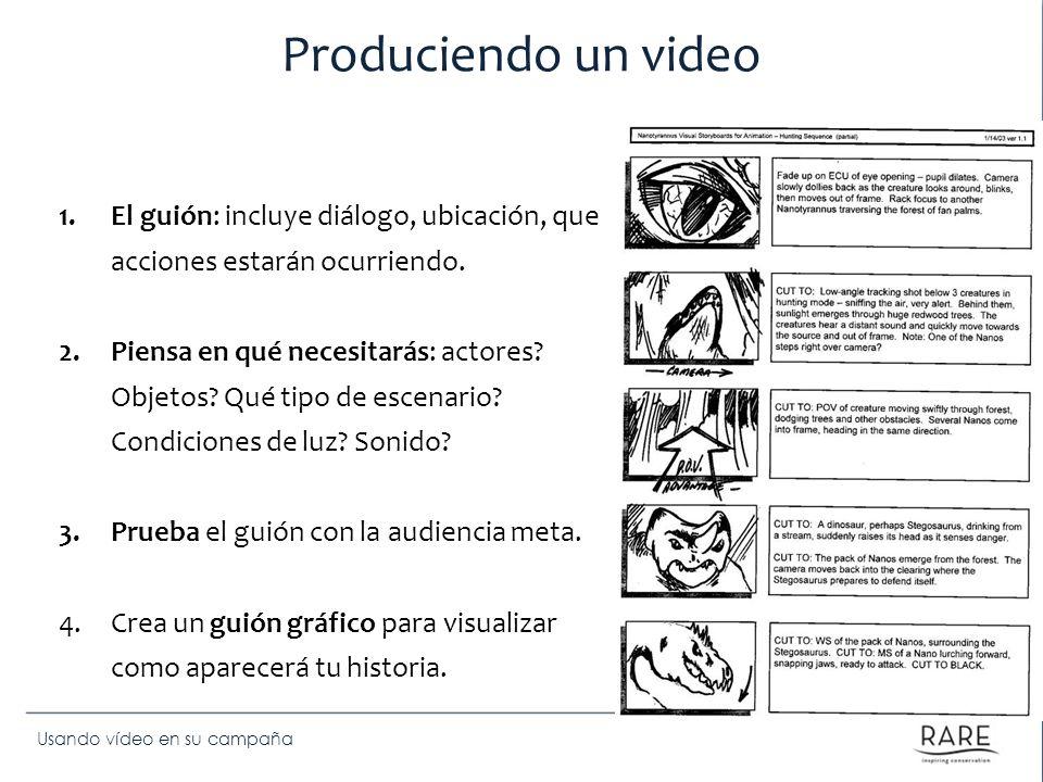 Produciendo un video El guión: incluye diálogo, ubicación, que acciones estarán ocurriendo.
