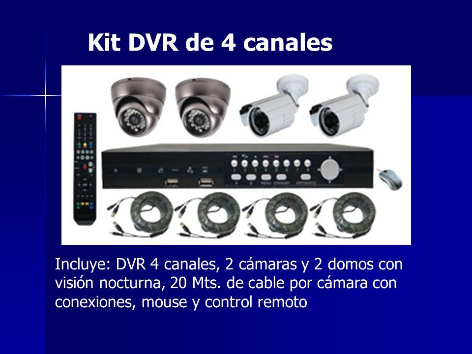 Kit DVR de 4 canales Incluye: DVR 4 canales, 2 cámaras y 2 domos con