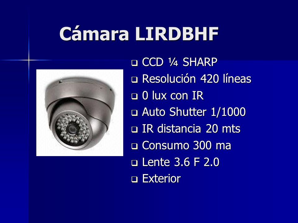 Cámara LIRDBHF CCD ¼ SHARP Resolución 420 líneas 0 lux con IR