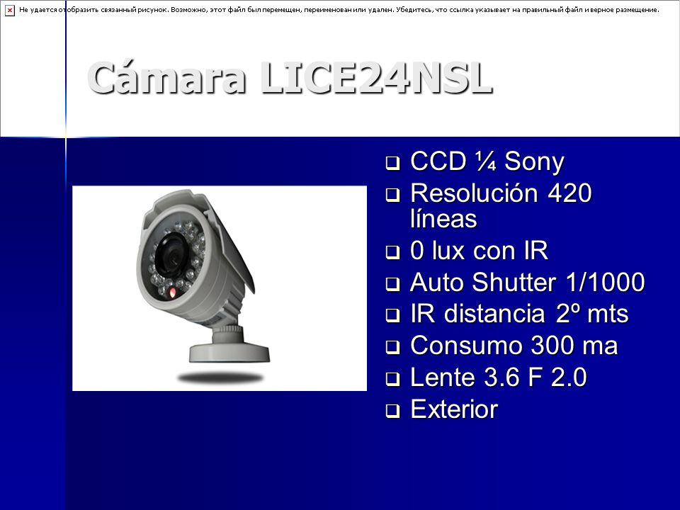 Cámara LICE24NSL CCD ¼ Sony Resolución 420 líneas 0 lux con IR