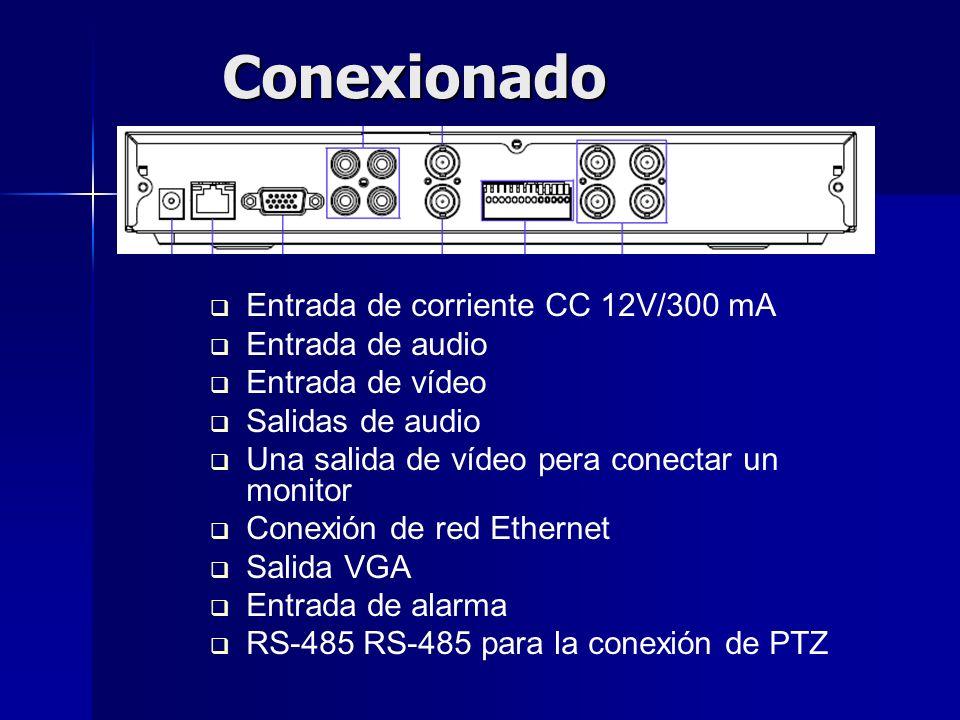 Conexionado Entrada de corriente CC 12V/300 mA Entrada de audio