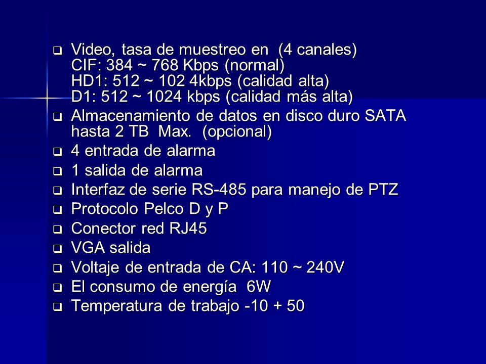 Video, tasa de muestreo en (4 canales) CIF: 384 ~ 768 Kbps (normal) HD1: 512 ~ 102 4kbps (calidad alta) D1: 512 ~ 1024 kbps (calidad más alta)