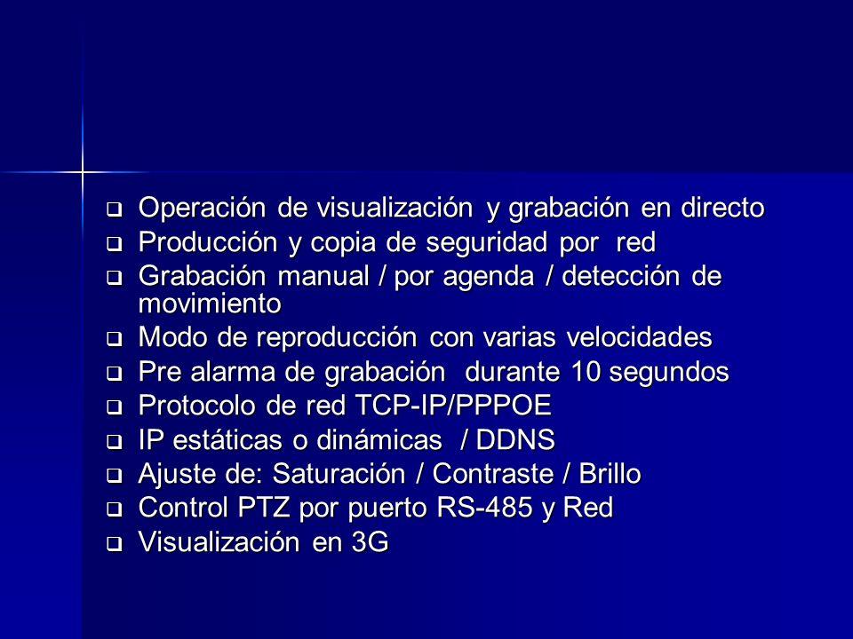 Operación de visualización y grabación en directo