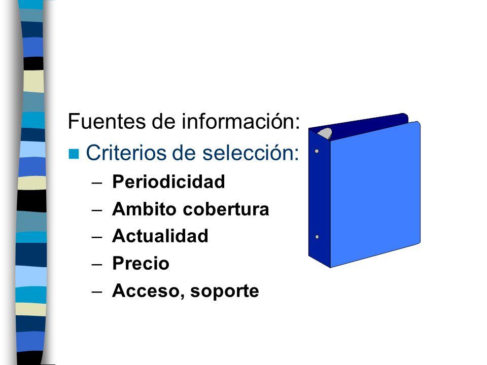 Fuentes de información: Criterios de selección: