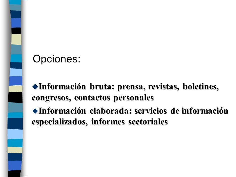 Opciones: Información bruta: prensa, revistas, boletines, congresos, contactos personales.