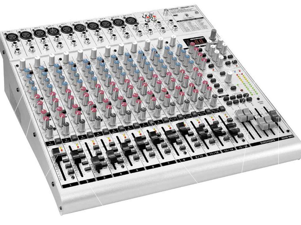 Línea Mic. Gain. Control Room. Led Meter. Asignaciones. Equaliz. Auxiliar. Grupos. Main Mix.