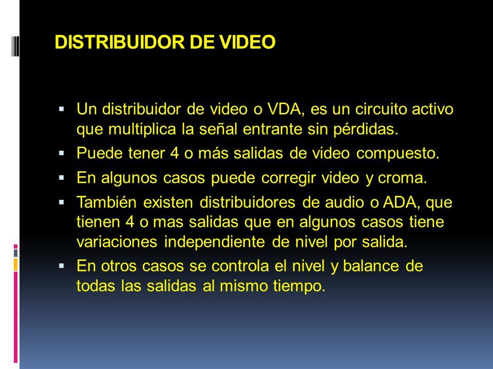 DISTRIBUIDOR DE VIDEO Un distribuidor de video o VDA, es un circuito activo que multiplica la señal entrante sin pérdidas.
