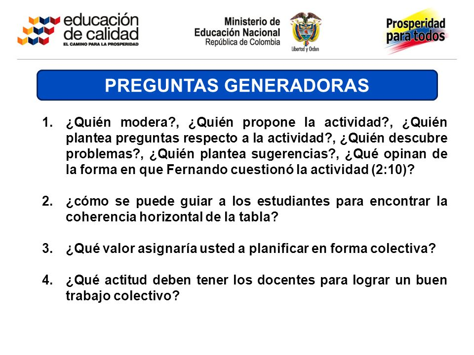 PREGUNTAS GENERADORAS