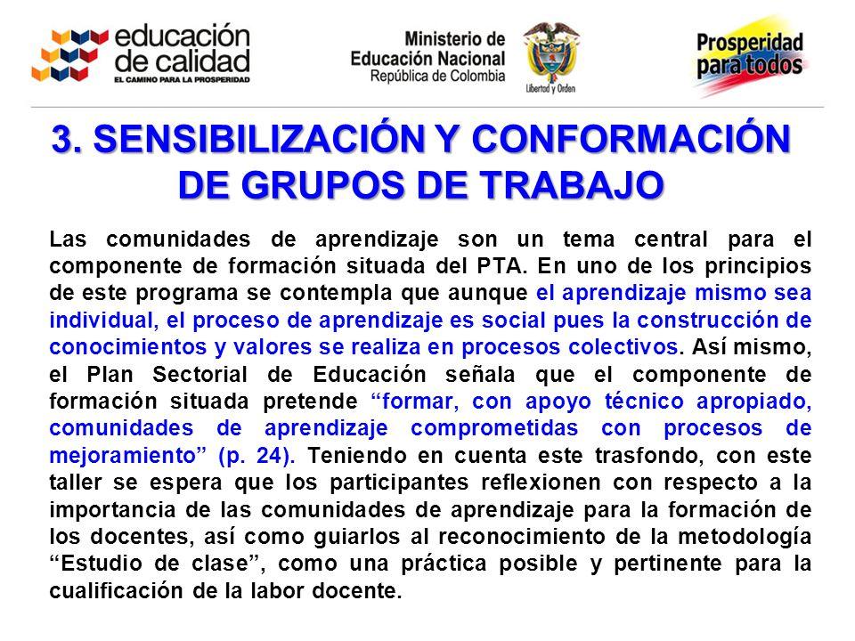 3. SENSIBILIZACIÓN Y CONFORMACIÓN DE GRUPOS DE TRABAJO