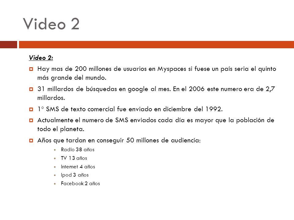 Video 2 Video 2: Hay mas de 200 millones de usuarios en Myspaces si fuese un país seria el quinto más grande del mundo.