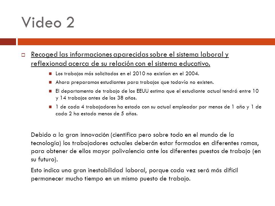 Video 2 Recoged las informaciones aparecidas sobre el sistema laboral y reflexionad acerca de su relación con el sistema educativo.