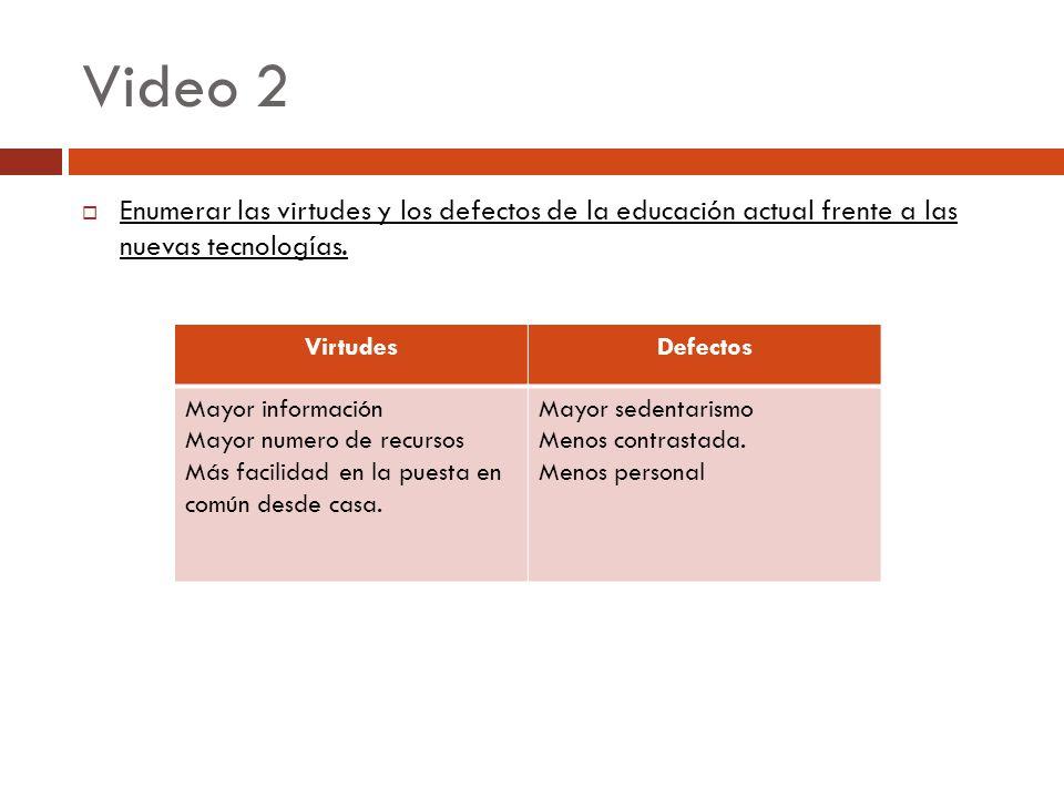 Video 2 Enumerar las virtudes y los defectos de la educación actual frente a las nuevas tecnologías.