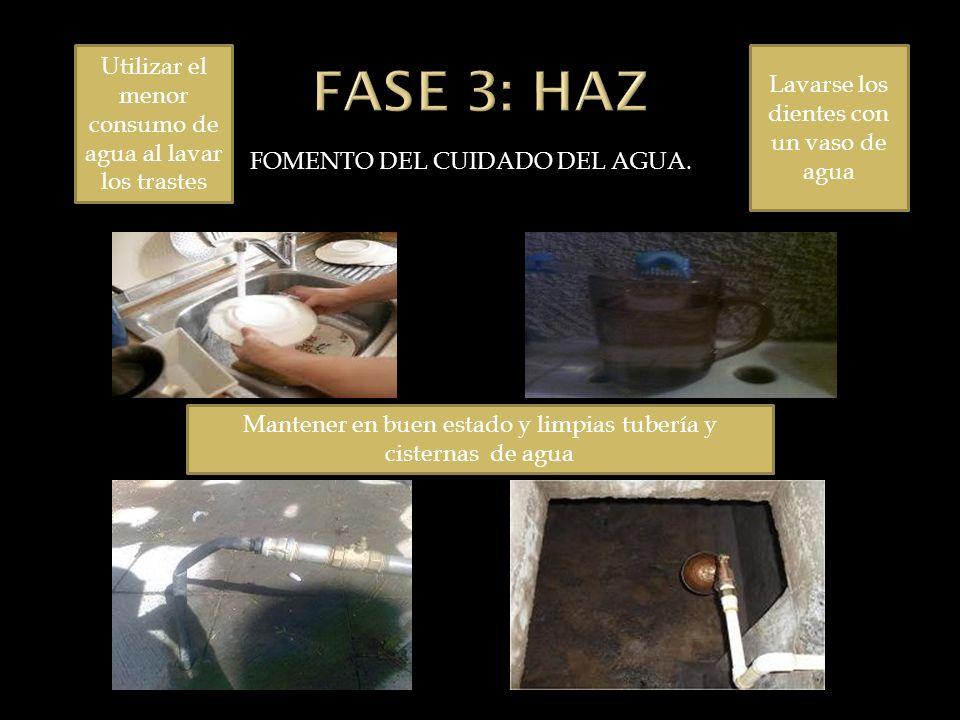 FASE 3: HAZ Utilizar el menor consumo de agua al lavar los trastes