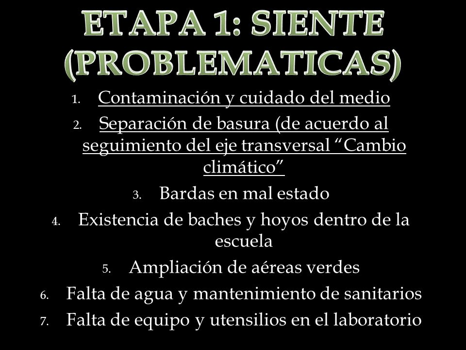 ETAPA 1: SIENTE (PROBLEMATICAS)