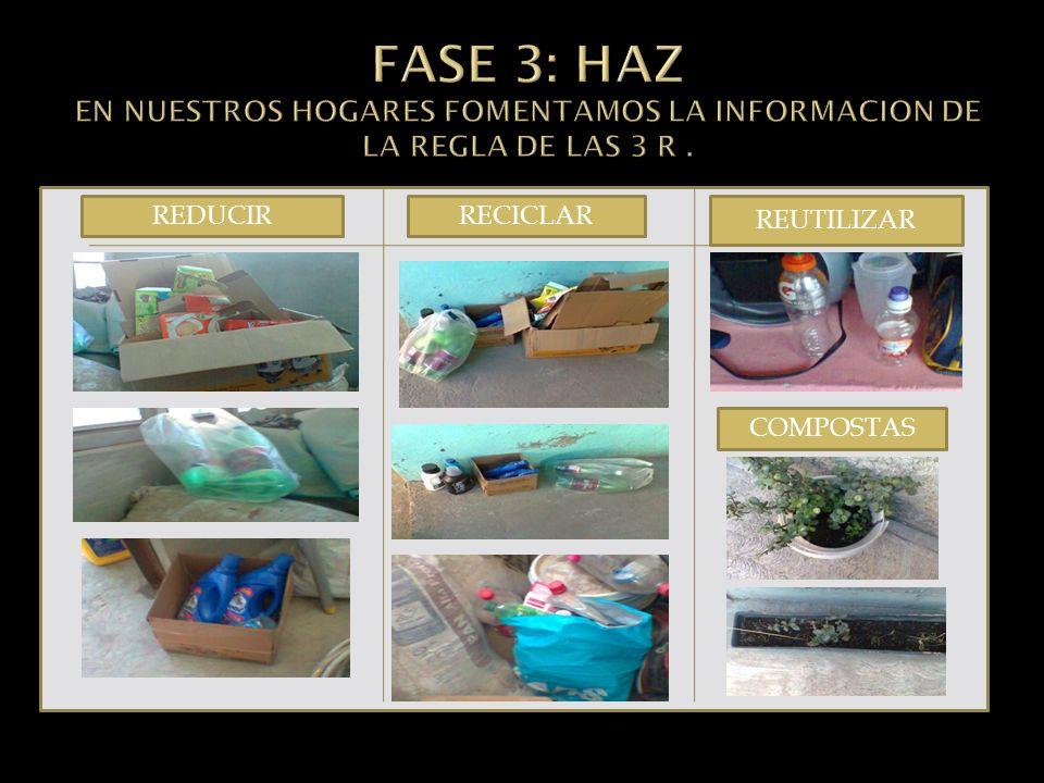 FASE 3: HAZ EN NUESTROS HOGARES FOMENTAMOS LA INFORMACION DE LA REGLA DE LAS 3 R .