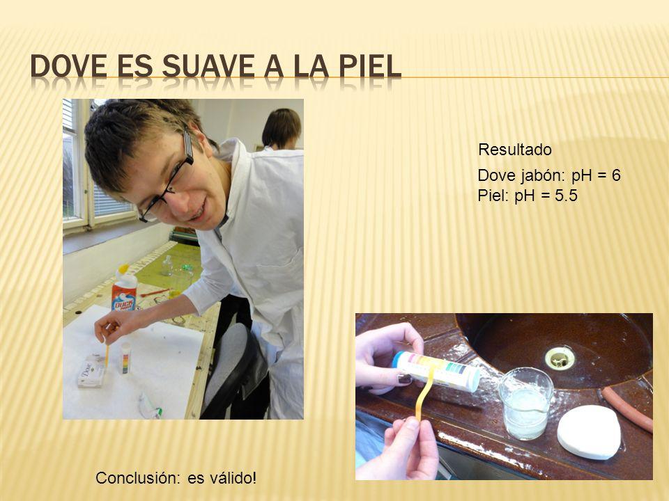 Dove es suave a la piel Resultado Dove jabón: pH = 6 Piel: pH = 5.5