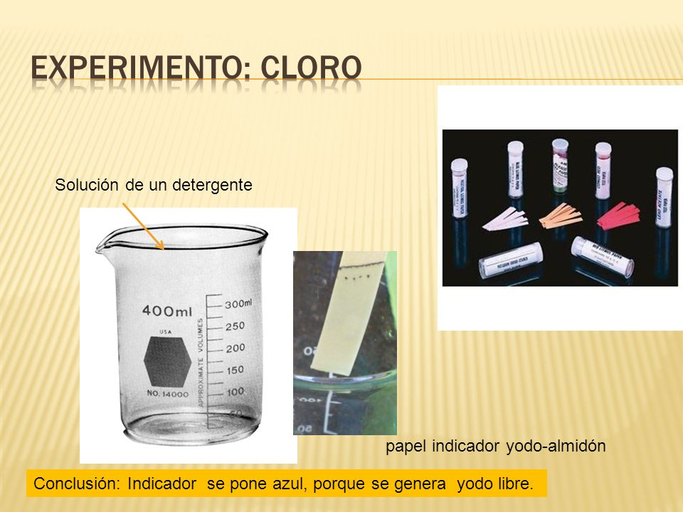 ExperimentO: cloro Solución de un detergente