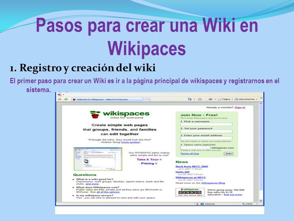 Pasos para crear una Wiki en Wikipaces