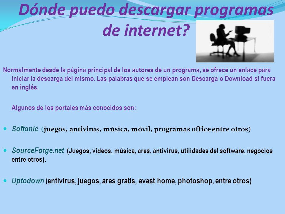 Dónde puedo descargar programas de internet